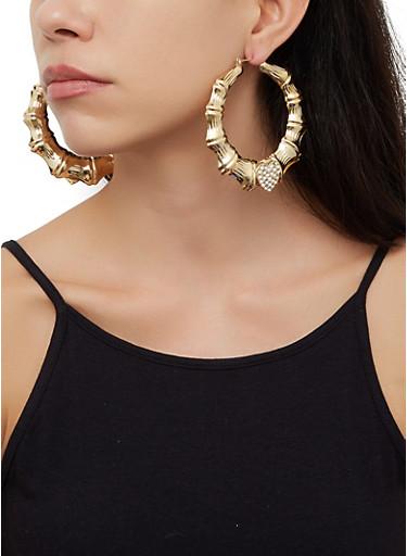 Rhinestone Heart Bamboo Hoop Earrings,GOLD,large