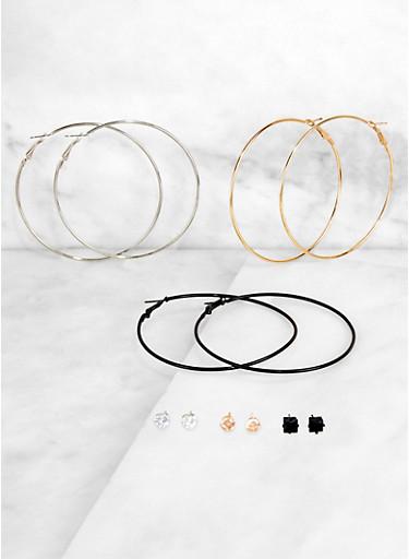 Stud and Hoop Earrings Set of 6,TRITONE (SLVR/GLD/HEMAT),large