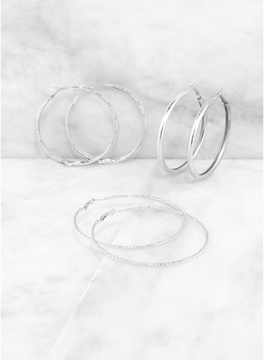 Textured Hoop Earring Trio | 3122074974049,SILVER,large