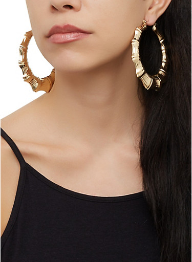 Textured Bamboo Hoop Earrings,GOLD,large