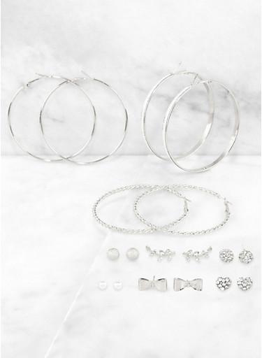 Shimmer Stud and Hoop Earrings Set,SILVER,large