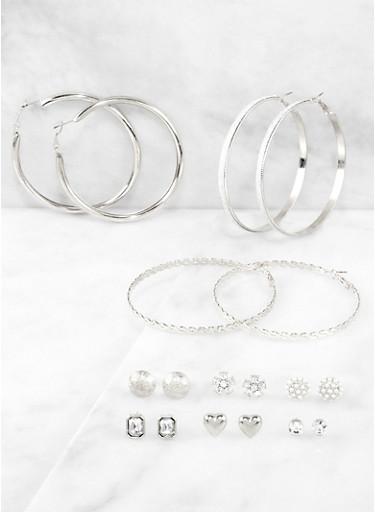 9 Assorted Stud and Hoop Earrings,SILVER,large
