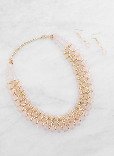 Beaded Collar Necklace and Earrings Set,PINK,large