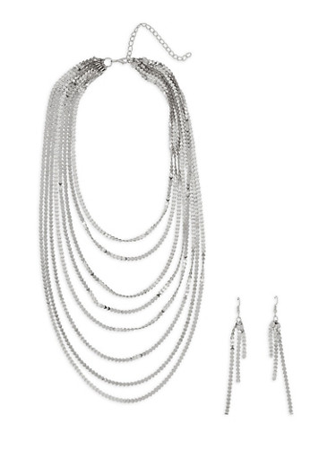 Metallic Layered Necklace with Drop Earrings,SILVER,large