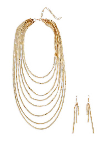 Metallic Layered Necklace with Drop Earrings - 3123003201225