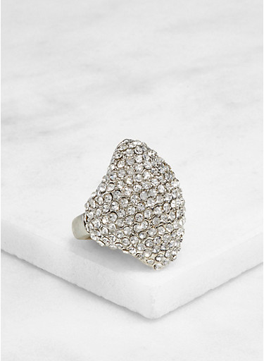Rhinestone Metallic Stretch Ring,SILVER,large