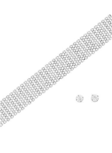 Multi Row Rhinestone Choker and Stud Earrings,SILVER,large