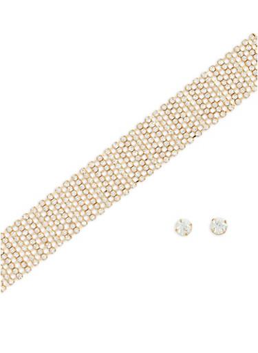 Multi Row Rhinestone Choker and Stud Earrings,GOLD,large