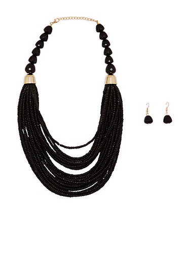 Layered Chunky Bead Necklace with Drop Earrings,BLACK,large