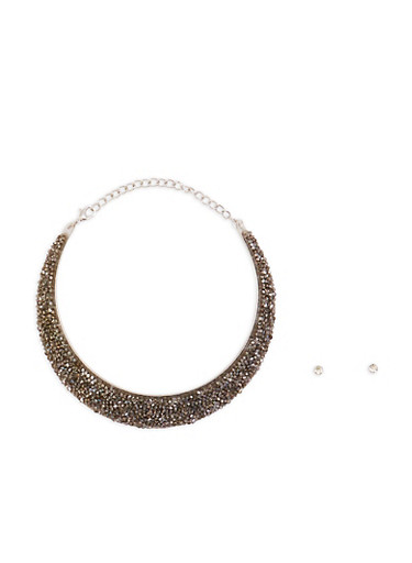 Metallic Jewel Encrusted Collar Necklace with Earrings,SILVER,large
