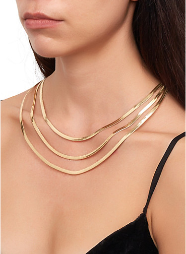 Flat Layered Necklace,GOLD,large