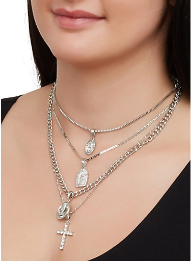Layered Religious Rhinestone Necklace and Stud Earrings,SILVER,large