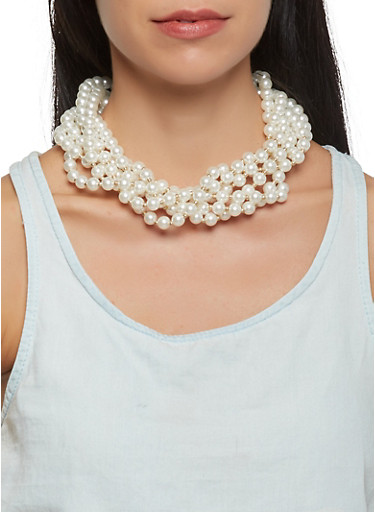 Braided Faux Pearl Necklace and Stud Earrings,IVORY,large