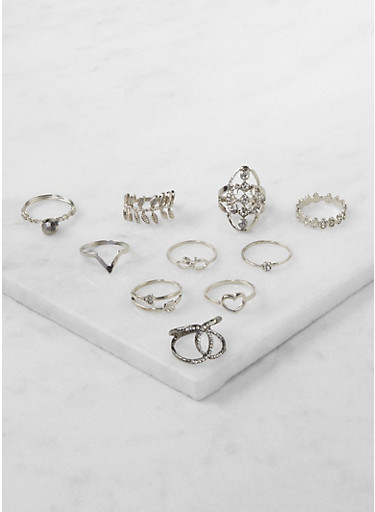 Set of 10 Assorted Rings,SILVER,large