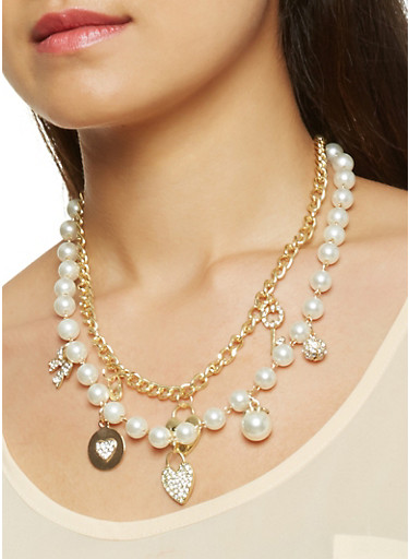 Faux Pearl Charm Necklace with Bracelet and Earrings Set,GOLD,large