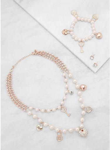 Faux Pearl Charm Necklace with Bracelet and Earrings,ROSE,large