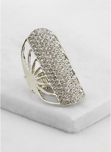 Long Rhinestone Stretch Ring,SILVER,large