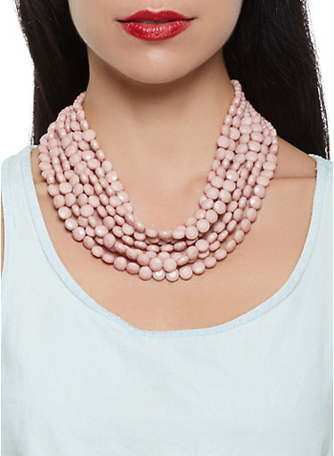 Layered Beaded Necklace with Matching Earrings,BLUSH,large