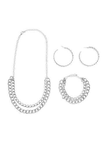 Curb Chain Necklace with Matching Bracelet and Hoop Earrings,SILVER,large