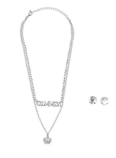 Layered Queen Charm Necklace with Large Stud Earrings,SILVER,large