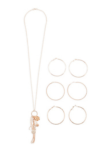 Charm Necklace with Hoop Earrings Set,ROSE,large