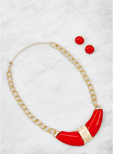 Stone Detail Collar Necklace and Earrings Set,RED,large