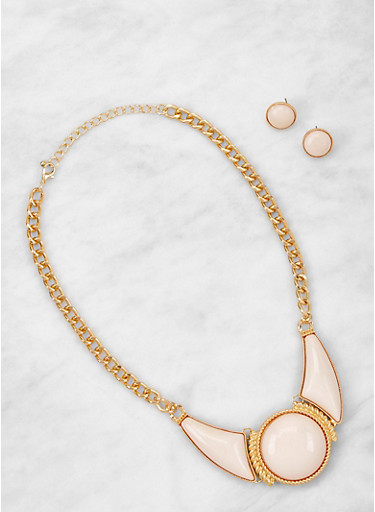Stone Detail Collar Necklace and Earrings Set,TAN,large