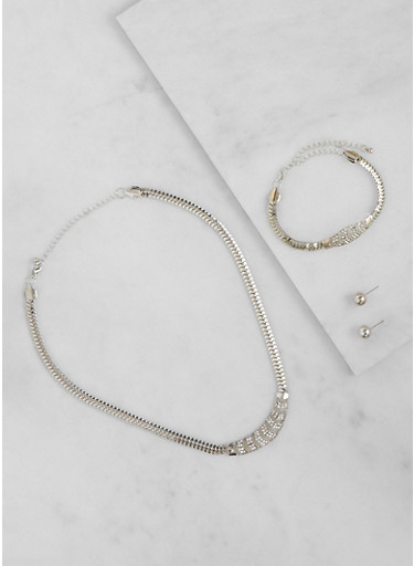 Rhinestone Necklace with Matching Bracelet and Earrings Set,SILVER,large
