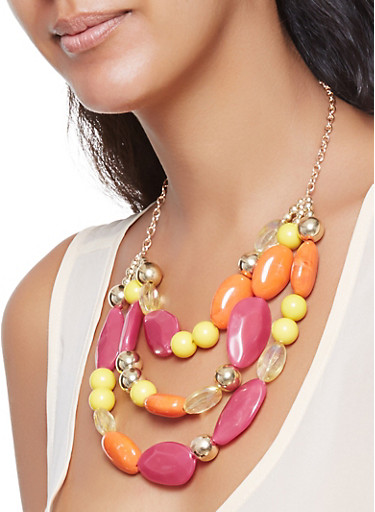 Layered Beaded Necklace with Earrings Set,FUCHSIA,large