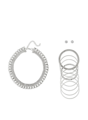 Metallic Chain Necklace with Stud Earrings and Bangles,SILVER,large