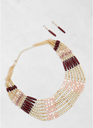 Beaded Collar Necklace with Matching Earrings,TAN,large