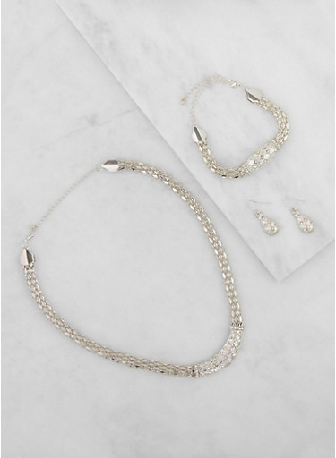Metallic Mesh Necklace with Bracelet and Earrings,SILVER,large