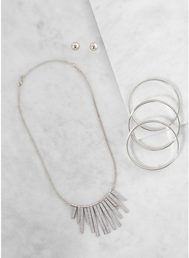 Glitter Stick Necklace with Bangles and Stud Earrings,SILVER,large