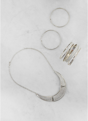 Glitter Metallic Necklace with Bangles and Earrings,SILVER,large