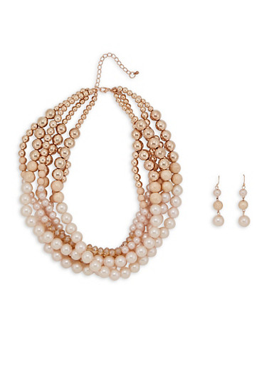 Faux Pearl Layered Necklace and Earrings | Tuggl