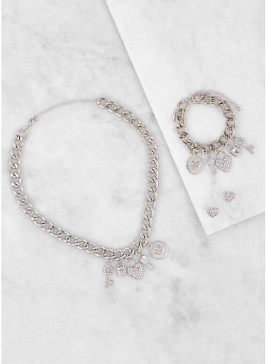 Charm Chain Necklace and Bracelet with Earrings,SILVER,large