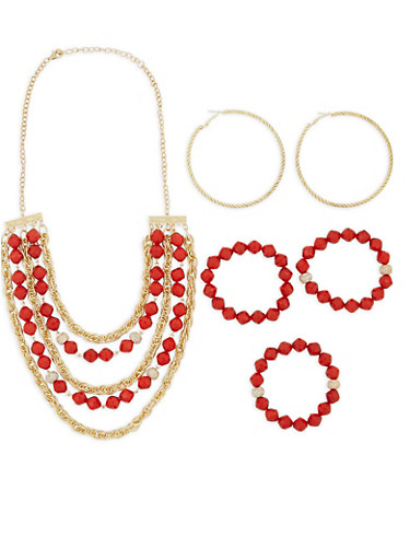 Beaded Necklace and Bracelets with Hoop Earrings,RED,large