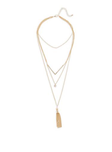 Layered Charm Tassel Necklace - 3123044098562