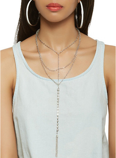 Layered Chain Necklace with Hoop Earrings,SILVER,large