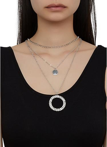 Layered Rhinestone Circle Necklace,SILVER,large