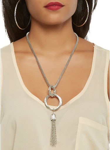 Metallic Mesh Charm Necklace with Hoop Earring Trio,SILVER,large