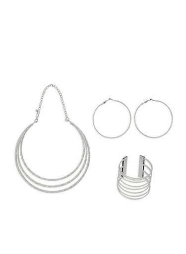 Bib Necklace with Cuff Bracelet and Hoop Earrings,SILVER,large