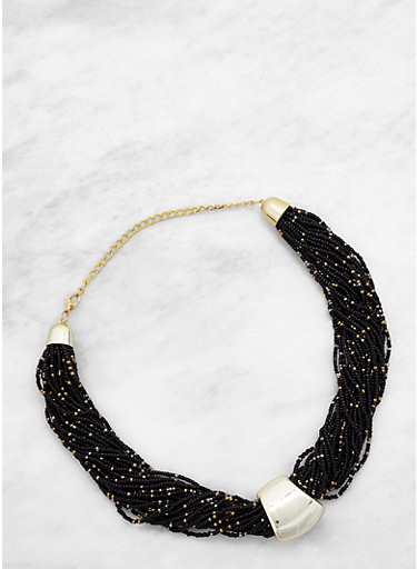 Twisted Bead Collar Necklace,BLACK,large