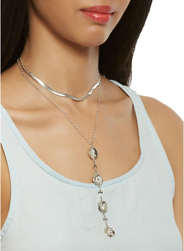 Layered Charm Choker with Stud Earrings,SILVER,large