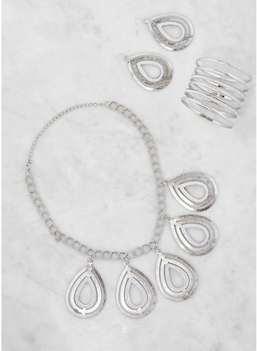 Glitter Teardrop Necklace with Bangles and Earrings,SILVER,large