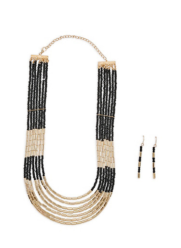 Metallic Two Tone Beaded Necklace and Earrings | Tuggl