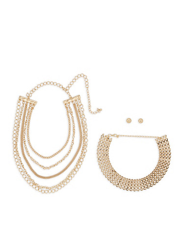 Metallic Collar Necklaces with Ball Stud Earrings,GOLD,large