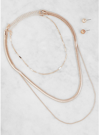 Flat Metallic Necklace Trio with Stud Earrings,ROSE,large