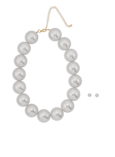 Large Faux Pearl Collar Necklace with Earrings,IVORY,large