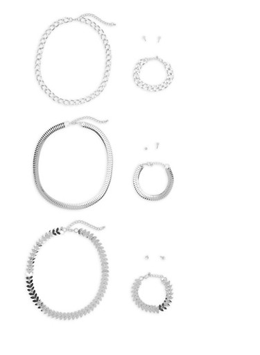 Assorted Metallic Necklaces with Bracelets and Earrings,SILVER,large